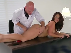 Brunette Samm Rosee receives her mouth stretched by Johnny Sinss sturdy ram rod