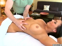 No man could resist playing with Rachel Starrs epic rack once shes stark naked and teasing with these large tits, so neither could this lucky masseur who gave them a admirable rubbing!