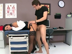 Black haired bombshell Jessica Jaymes with large fake tits and arousing heavy make up in underware and white coat gets licked pierced minge good by Xander Corvus in hawt fantasy.
