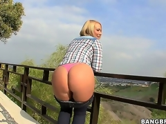 Arousing short haired blonde milf Melanie Monroe with big fake whoppers and juicy wazoo acquires naughty and reveals her hot curves during the time that teasing outdoor in point of view.