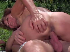 Ilona is a sex obsessed mature woman that receives her many times used desirous pussy banged again by her juvenile fuck buddy in the open air. She receives her cunt drilled by his stiff weenie in nature