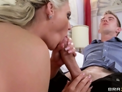 Sexy blonde tramp gives her hung lover an awesome POV handjob