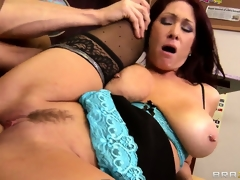 Teacher with massive knockers rides on a cock with her wet cunt