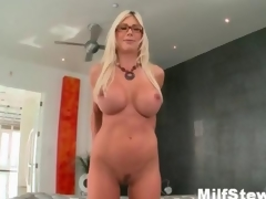 Sexy blonde milf wanting crazy showing her boobs