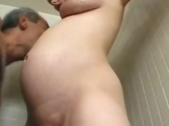 Preggo milf Becky Cumisha gets fondled with the addition of fucked from behind