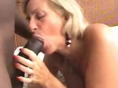 Two aged sluts make interracial porn