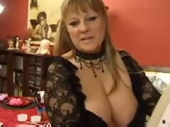 Fat aged with giant tits has group sex