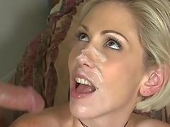 Kasey Grant gets facial spunk fountain