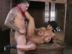 Busty milf Jewels Jade enjoys young hunk Clover fucking her tight pussy