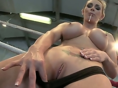 Busty sweetheart Tanya gets so horny and gives a decision to masturbate in a wrestling ring