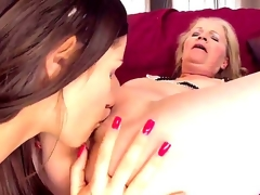 Young pretty brunette hottie Ashley playing lesbian games with her old neighbour Gabi