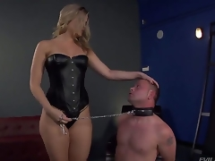 Bombshell blonde Alexis Texas is one hot looking and evil domina, holding Jeremy Conway in a leash and making him show his admiration for her perfectly shaped ass...