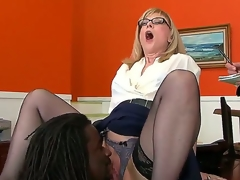 Big ebony chap Nathan Threat is all over horny milf Nina Hartleys pussy with his tongue and that babe replies with an expert oral that makes him mad with passion.