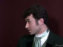 Experienced dirty pornstar James Deen enjoys treating rough dark haired slits Elexis Monroe and Magdalene St. Michaels in Victorian outfits in provocative softcore scene