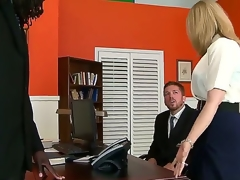 Great interracial sex with Nathan Threat and Nina Hartley. This mature woman looks hot as she sits on an office desk and, spreads her panties open and shows of her tight hole as her chap receives down on his knees before them.