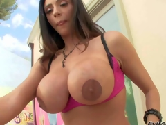 Ariella Ferrera is a gorgeous dark haired sexy milf with perfect body. Hot woman spreads her round buttocks and shows her asshole in advance of she demonstrates her biggest fake mambos