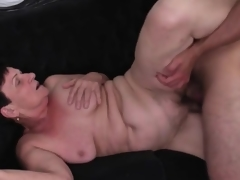 Youthful cock plunges into her old slit