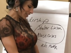 Boss Persia Pele copulates a horny worker