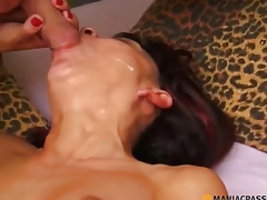 On her face trickling jizz