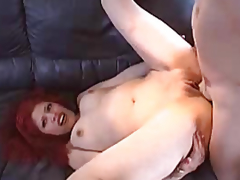 Red-haired gal with a smooth fur pie drilled by a stud
