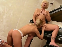 Aged music teacher Orhidea and her young student girl Bianka Enchanting licking pussies on the piano