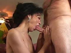 Horny granny with curly haired pussy Sage Hughes fucked by her old paramour Jay Crew