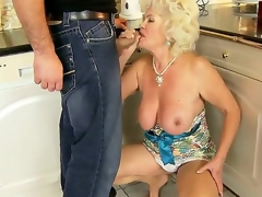 Hawt granny named Effie shows her hairy pussy and gets a young dick in the mouth