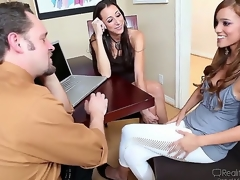Melanie Rios applies for a job working for Alec Knight and his sexy wife Kaylynn, and the kinky pair interviews her trying to talk her her into exploring her sexuality with them!