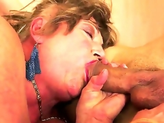 Margitta is my friends granny who has hairy pussy and deep throat. I taste her clit and then we have awesome sex where I drill her wet crack with my burning dick!
