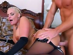 Handsome pretty golden-haired bombshell Phoenix Marie with big moist tits and round jaw dropping arse in black lingerie seduced young muscled stud Johnny Castle and gets satisfied in bedroom.