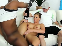 Busty and incredibly hawt wench Phoenix Marie is getting her slit molested by a large black dong in the presence of her own husband and it looks more than awesome.