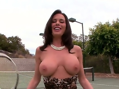 Adorable dark brown slut Veronica Avluv plays a gamer of tennis but she has some serious problems with her jugs since they tend to fall out of her bra.