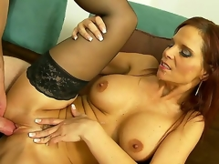 The big titted milf in nothing but black stockings Syren De Mer is enjoying the hardest pounding from the palpitating member taking it deeper and deeper into the nub