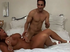 Turned on experienced cock hungry dark skinned milf Cassidy Eve with heavy breathtaking melons and large juicy ass gives amazing oral job to randy muscled stud and gets pounded hard