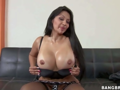 Cielo is a long haired milf brunette with jaw-dropping booty and boots. Passionate sexy milf with big round booty takes off her panties and then bares her huge fake melons. Shes damn hot