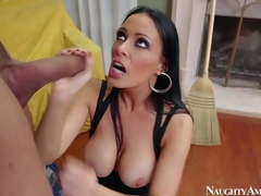Vanilla DeVille is a dangerously sexy MILF who can seduce each guy she wants. That babe seduces Karlo Karrera and gets a good fuck this time. He fucks brunettes large perfect boobs and then inserts his dick in her wet pink fuck aperture