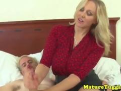 Classy handjob milf gets cumshot on her boobs
