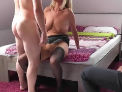 Blonde mature wife cuckolds her husband