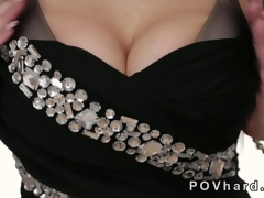 Hot blonde with huge tits gives a blowjob POV