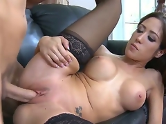 Brunette with gigantic love bubbles and clean wet crack loses control in fucking frenzy with hot fuck buddy Chris Johnson
