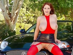 Beautiful ex-prostitute babe has rich husband that just presented her fresh Jaguar. Babe craves to realize her defiant dreams and start to show her charms near fresh car.