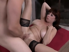 Tim Cannon is fond of banging gorgeous milfs. This day he would have fun with Karen Kougar! The busty babe stays in stockings and high heels previous to getting mouh and twat nailed.