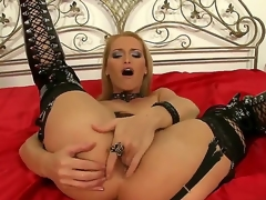 Devilish milf Cathy Campbell is fingering her mighty posterior while wearing kinky and sexy lingerie in order to make Nick Lang nail her hard.