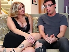 Dane Cross and plump breasted cougar Julia Ann are having some precious time on the daybed and they look very pretty and rather slutty in many ways.