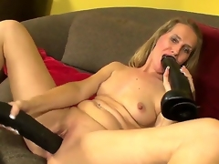 Hello people! Sexy and gorgeous milf Sara James takes 2 large black toys and masturbates! She sucks it and puts in her gentle pussy! I am sure that you will like it guys! Enjoy!