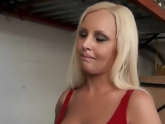 Attractive young golden-haired milf with pretty face and smokin' hot body in provocative outfit seduces younger attractive stud and lets him plays with her perfect boobs in close up.