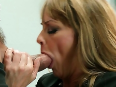 This hot golden-haired milf Shayla Leveaux missed the youthful throbbing cock so much that when that babe gets it into the mouth that babe starts working it up like a real dirty whore