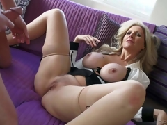 Julia Ann is a sex obsessed large titted mature beauty that licks males balls and sucks his stiff cock like crazy before she widens her legs wide on the edge of the sofa and takes love torpedo in her wet aperture