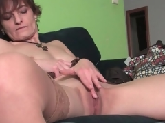 Cute milf gently rubs her beautiful pussy