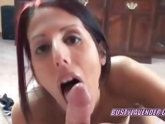 Oral redhead Lavender Rayne swallowing a ramrod